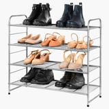 Rebrilliant 4-Tier Metal Shoe Storage Rack,Freestanding & Adjustable Storage Organizer For Entryway Closet Bedroom (Bronze) in Gray   Wayfair