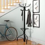 Andover Mills™ Metal Coat Rack w/ Umbrella Holder Metal in Black, Size 70.0 H x 17.5 W x 17.5 D in   Wayfair ANDO3203 28740717