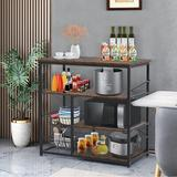 17 Stories Kitchen Baker'S Rack Utility Storage Shelf Microwave Oven Stand Kitchen Shelf Stainless Steel in Gray, Size 33.5 H x 35.4 W x 15.7 D in