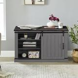 Gracie Oaks 47 In. Saw Cut Off White Sliding Barn Door Accent Cabinet Storage in Gray/Black, Size 30.0 H x 47.2 W x 15.5 D in   Wayfair
