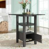 Winston Porter Counter Height Wood Kitchen Dining Table w/ Storage Cupboard & Shelf, Brown Wood in Gray, Size 36.0 H x 31.5 W x 31.5 D in | Wayfair