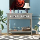 Longshore Tides Console Table w/ Hollow-Out Decoration & 2 Drawers & 1 Open Shelf,Silver Wood in Gray, Size 30.0 H x 35.4 W x 13.8 D in   Wayfair