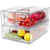 Rebrilliant Refrigerator Organizer Bins w/ Pull-Out Drawer, Set Of 3 Drawable Clear Storage Cases For Refrigerator, Fridge, Freezer, Cabinet Wayfair