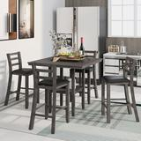 Red Barrel Studio® 5-Piece Wooden Counter Height Dining Set w/ Padded Chairs & Storage Shelving, Gary in Black/Gray, Size 35.7 H in | Wayfair