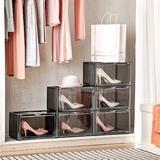 Rebrilliant Shoe Storage Box,Set Of 6,Shoe Box Plastic Stackable,Drop Front Shoe Box w/ Door,Shoe Organizer & Shoe Containers For Sneaker Display