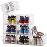 Rebrilliant Shoe Box,Stackable Plastic Shoe Box, Drop Front Shoe Box w/ Lids, Shoe Storage Box & Shoe Organizer Containers For Sneaker Display