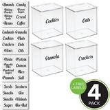 Rebrilliant Small Plastic Stackable Kitchen Storage Box, 4 Pack + 32 Labels - Clear, Size 7.0 H x 6.6 W x 5.5 D in   Wayfair