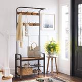 17 Stories Vintage Coat Rack Shoe Bench Tree Entryway 3-tier Storage Shelf Clothing Rack, Size 72.1 H x 13.4 W x 28.3 D in | Wayfair