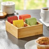 Rebrilliant Bamboo Kitchen Storage Organizer Box, 4 Divided Sections - Natural Wood in Brown, Size 2.5 H x 6.8 W x 6.8 D in   Wayfair