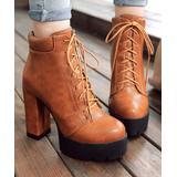 BUTITI Women's Casual boots Yellow - Brown Lace-Up Platform Bootie - Women