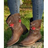 YASIRUN Women's Western Boots Brown - Brown & Red Floral Embroidered Cowboy Boot - Women