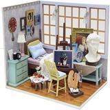 Guzhai DIY Dollhouse Miniature Wooden Furniture Kit, Doll House Kit w/ Dust Proof Cover, Mini Handmade Wooden Dollhouse Toys For Adult Gift(V07)