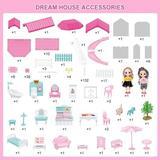 Guzhai Dream House Doll House Kit, Dollhouse w/ Lights, Slide, Pets & Dolls, DIY Pretend Play Building Playset Toys w/ Asseccories & Furniture