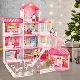 Guzhai Dreamhouse Dollhouse Building Toys, Playset w/ Lights, Movable Slides, Stairs, Furniture, Accessories, Dolls & Pets | Wayfair