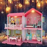 Guzhai Dollhouse Dreamhouse Building Toys, Princess Doll House, Playset w/ Lights, Furniture, Accessories & Dolls, Cottage Pretend Play House Set