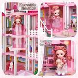 Guzhai Dreamy Dollhouse Playset w/ Elevator,Slide,Stairway,Lights,Furniture,Accessories,Pretend Play Dreamhouse w/ 3 Dolls& 2 Pets | Wayfair