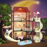 Guzhai MITCIEN Dollhouse Kit Playset Little Critters Bunny Dolls For Girls w/ Swimming Pool, Size 9.84 H x 6.3 W x 15.75 D in | Wayfair