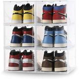 Rebrilliant Shoe Box,Set Of 6,Shoe Box Clear Plastic Stackable,Shoe Containers w/ Lids,Shoe Storage Box & Shoe Organizer For Display Sneakers
