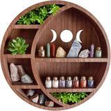 Loon Peak® Crescent Moon Shelf For Crystals - Crystal Wall Decor, Crystal Shelf Display, Moon Shelves, Boho Shelves Essential Oil Shelf in Brown
