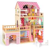 Xiangong Wooden Dollhouse w/ Furniture Accessories 3 Layers 4 Rooms Balcony 2 Stairways Large Villa Doll House Pretend Play Set Doll Playhouse Cottage Birthd