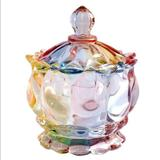 Free People Kitchen   Crystal Clear Glass Royal Embossed Apothecary Jar With Lids   Color: Pink/Yellow   Size: Os