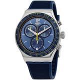 Dateline Chronograph Quartz Blue Dial Watch - Blue - Swatch Watches