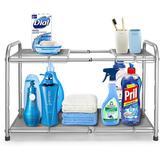 Dapota 2-Tier Under Sink Expandable Cabinet Shelf Organizer Rack w/ 8 Removable Panels For Kitchen Bathroom Storage Metal in Gray   Wayfair