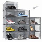 Rebrilliant Shoe Boxes Clear Plastic Stackable 12 Pack Sneaker Storage Organizer Boxes Containers w/ Lids Shoe Bins Organizers | Wayfair
