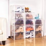Rebrilliant Storage Shoe Box, Foldable Clear Sneaker Display Box, Stackable Storage Bins Shoe Container Organizer, 6 Pack Plastic in White | Wayfair
