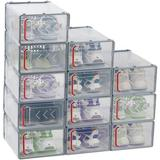 Rebrilliant 12 Pack Shoe Storage Boxes Foldable Arrow Clear Shoe Container Bins Stackable Organizer Plastic Drawer Type Front Opening Storage Holder Plastic
