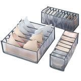 Rebrilliant 3Pcs Folding Drawer Storage Box Compartmental Wardrobe Storage Box Suitable For Underwear Bras & Socks in Gray   Wayfair