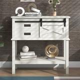 Gracie Oaks Console Table w/ Sliding Barn Door, Two Drawers & Open Shelf in White, Size 33.9 H x 35.0 W x 13.8 D in   Wayfair
