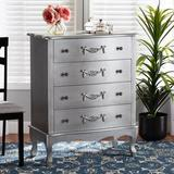 One Allium Way® Sickels Classic & Traditional Silver Finished Wood 4-Drawer Storage Cabinet in Gray, Size 38.98 H x 31.5 W x 15.75 D in   Wayfair