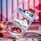 Rebrilliant 3 Pack Shoe Boxes Clear Shoe Storage Box Plastic Display Organizer Large Shoe Container Magnetic Side Open Stackable Shoe Boxes Plastic