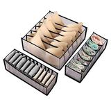 Rebrilliant 3Pcs Folding Drawer Storage Box Compartmental Wardrobe Storage Box Suitable For Underwear Bras & Socks in Black   Wayfair