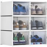 Rebrilliant Shoe Box Medium Size, Set Of 6 Shoe Storage Organizers Stackable Shoe Storage Box Rack Drawer Plastic, Size 7.1 H x 9.8 W x 13.8 D in
