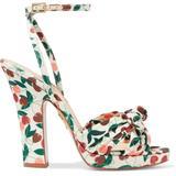 Havana Knotted Printed Canvas Platform Sandals - Green - Charlotte Olympia Heels