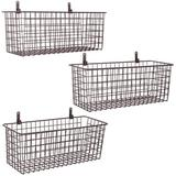 UNIQUE^ 3 Set [Extra Large] Hanging Wall Basket For Storage, Wall Mount Sturdy Steel Wire Baskets, Metal Hang Cabinet Bin Wall Shelves in Brown