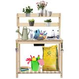 Arlmont & Co. Outdoor Garden Potted Workbench w/ Sliding Table Top & Natural Storage Shelf, Size 6.5 H x 41.7 W x 21.9 D in | Wayfair