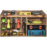 MELODY Wall-Mounted Power Tool Storage Box, Large Space Garage Tool Storage Cabinet, Workshop Wood Shelf, Cordless Electric Drill Screw Holder