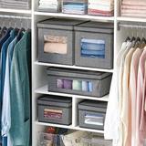 Latitude Run® Soft Fabric Closet Storage Organizer Box, 4 Pack - Dark Brown in Gray, Size 5.9 H x 11.25 W x 15.75 D in | Wayfair