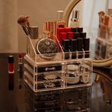Rebrilliant Transparent Makeup Storage Box & Storage Can Be Stacked Small Skin Care Cosmetics Display Cabinet, Size 7.4 H x 9.5 W x 6.0 D in Wayfair