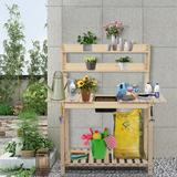 Arlmont & Co. Outdoor Garden Potted Workbench w/ Sliding Table Top & Natural Storage Shelf | Wayfair E7C4470FF3664A02B57BD0514F87CE11