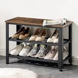 17 Stories Shoe Bench, 3-tier Shoe Rack For Entryway, 28 Inches Storage Shelves w/ Steel Frame & Wood Seat, Rustic Bench For Doorway in Brown
