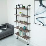 Williston Forge Industrial Pipe Shelves Rustic Wood Ladder Bookshelf Wall Mounted Shelf For Living Room Decor & Storage, 5 Layers in Brown | Wayfair
