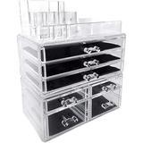 Rebrilliant Acrylic Cosmetics Storage Box Storage Drawer Display Box Case, Three Sets, Size 11.88 H x 9.5 W x 5.5 D in   Wayfair