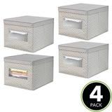Rebrilliant Soft Fabric Closet Storage Organizer Box - 4 Pack - Light Gray/White in Brown, Size 15.5 H x 9.75 W x 11.75 D in | Wayfair