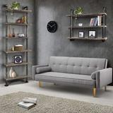 Williston Forge Industrial Pipe Shelves Rustic Wood Ladder Bookshelf Wall Mounted Shelf For Living Room Decor & Storage, 6 Layers in Gray/Brown