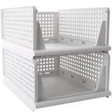 Rebrilliant Stackable Plastic Storage Basket-Foldable Closet Organizers Storage Bins 2 Pack-Drawer Shelf Storage Container For Wardrobe Cupboard Kitchen Bathroom