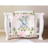 Indigo Safari Elephant Baby Girl Blanket, Elephant Crib Bedding, Elephant Nursery Theme Baby Blanket, Pink Floral Newborn Coming Home Blanket
